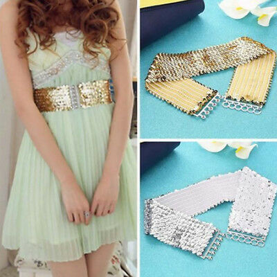 Fashion High Waist Belt Women's Punk Sparkling Sequins Wide Daily Life Shiny New