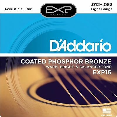 D'Addario EXP16 Coated Phosphor Bronze, Light, 12-53, Acoustic Guitar Strings