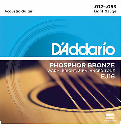D'Addario EJ16 Phosphor Bronze, Light, 12-53, Acoustic Guitar Strings
