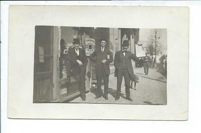 Rushmore MN Minnesota RPPC Postcard 3 Men  by Store Front Posted Rushmore