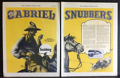 1927 Gabriel Snubbers Cowboy Roping Rodeo Bull Ed Blossom Art Vintage Print Ad