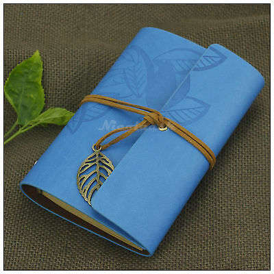 Portable Sketchbook Notebook Blank Diary Journals Leaves Leather Refillable Blue