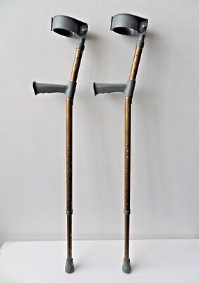 Pair of Gold Painted Coopers Adjustable Adult Crutches Max 159kg Elbow Crutches