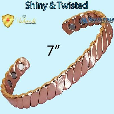 Pure Solid Copper Magnetic Twisted Men Women Bangle/bracelet Arthritis Cb22E