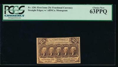 AC Fr 1281 $0.25 1862 fractional first issue PCGS 63 PPQ Straight Edges w/ABNCo