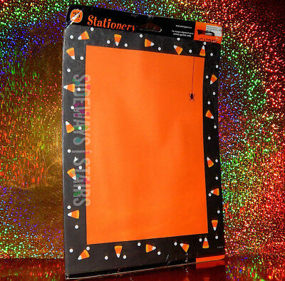 HALLOWEEN STATIONERY PAPER candy corn spider web border orange SEALED 25 SHEETS
