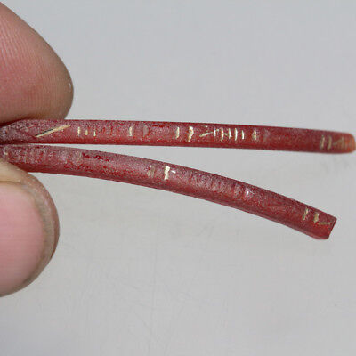 Very Rare Tow Fragments From A Red Glass Bracelets With Gold Plating Circa 100 B