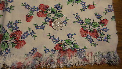 """Vintage Card TABLECLOTH, Red Strawberries, Blue Flowers, Fringed, 30""""x34"""""""