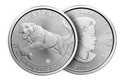 1 oz Cougar Silver Coin 2016 Royal Canadian Mint Predator 999.9 Limited Mintage