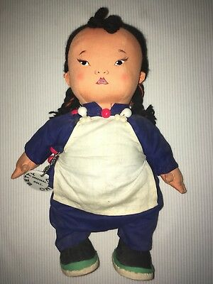 BETTY CLEMO Vtg Chinese Painted Face Cloth Baby DOLL