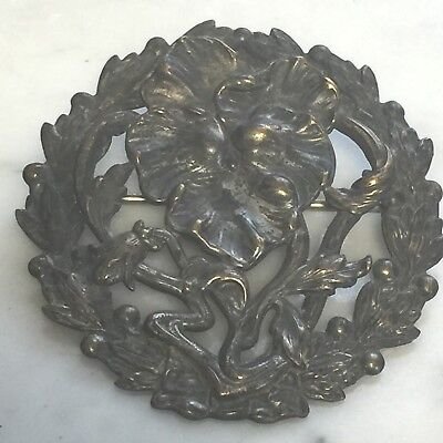 "Antique Art Nouveau Pansy Embossed Cut Out Flower Pin Brooch Brass 2"" Pansies"