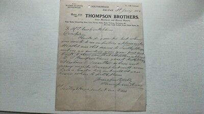 Thompson Brothers Watson Quarries Southowram Halifax Letter 1924 West Yorkshire