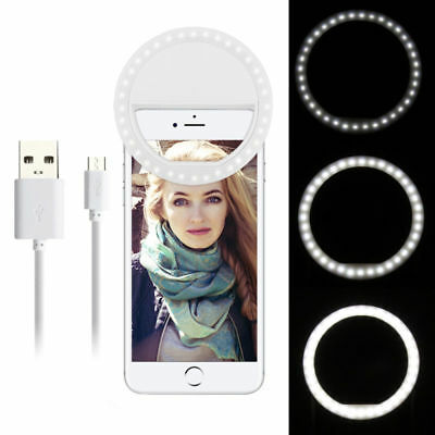Portable Selfie LED Phone Ring Flash Fill Light Clip Camera For IOS / Android