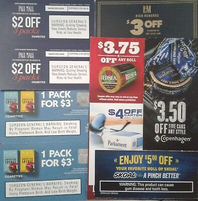 Cigarette tobacco coupons $100 L&M Skoal Parliament pall mall American Spirits