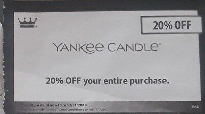 YANKEE CANDLE COUPON 20% expires Dec 31, 2018