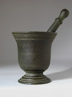 Early European Bronze Pestle and Mortar 17th 18th Century with Beautiful Patina