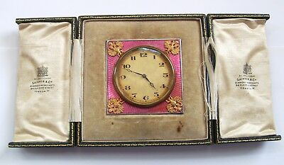 Vintage Silver Enamel Imperial Russian Type Clock Gold Eagles With Orig. Case