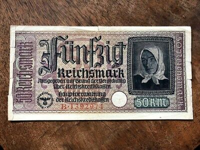 US Seller ...WWII German Money 50 Reichsmark Banknote Bill. Swastika embossed.
