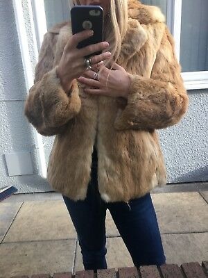 Blonde And Cream Speckled Real Coney Fur Coat Jacket Uk 10/12