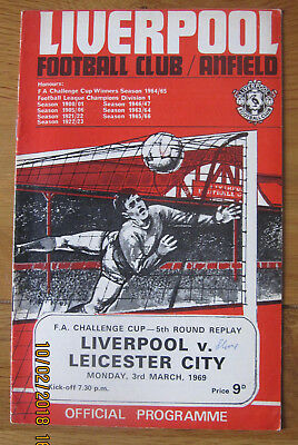 Liverpool v Leicester City football programme 3.3.1969