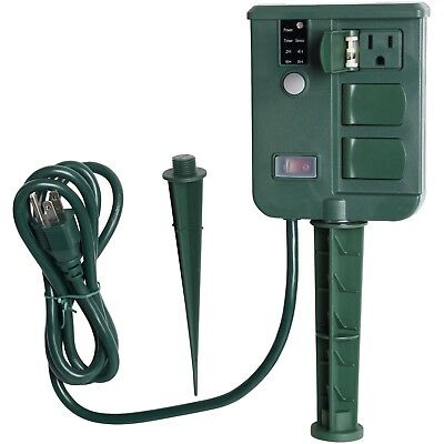 New Yard Power Stake with Timer 6-Outlet Waterproof For Outdoor Christmas lights