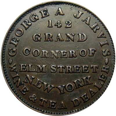 1837 New York City Hard Times Token George Jarvis Wine Tea HT-284 Low 123