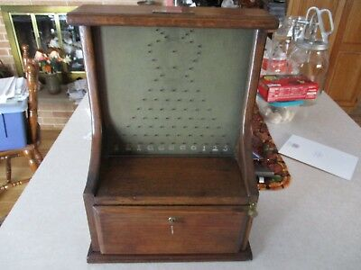 Antique wood PENNY DROP TRADE STIMULATOR Coin Op machine Country Store Gambling