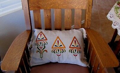 Pillow Arts And Crafts Mission Style Antique Embroidery On Linen Stickley Era