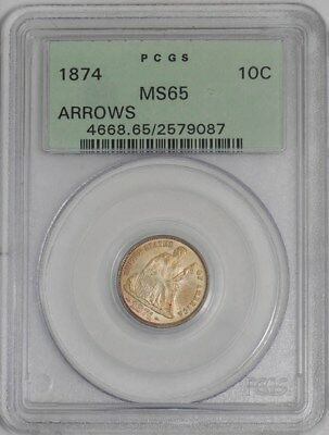 1874 Seated Liberty Dime 10c Arrows #939444-2 MS65 old Label PCGS