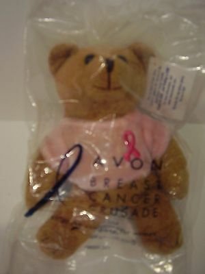 Vintage Sealed 2001 AVON Breast Cancer Crusade plush bead Teddy Bear Pink Ribbon