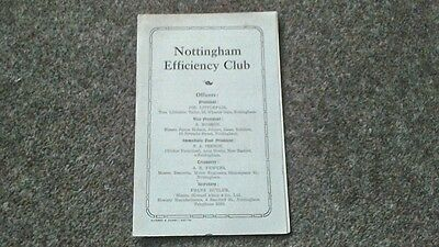 NOTTINGHAM EFFICIENCY CLUB MEMBERS CARD c1930 NOTTINGHAM LOCAL HISTORY