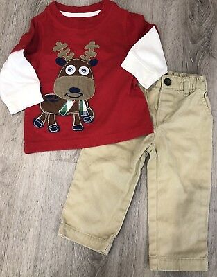 0781004c1 CARTERS CHRISTMAS REINDEER Baby Boys Outfit 6-9 6 Month Khaki Pants ...