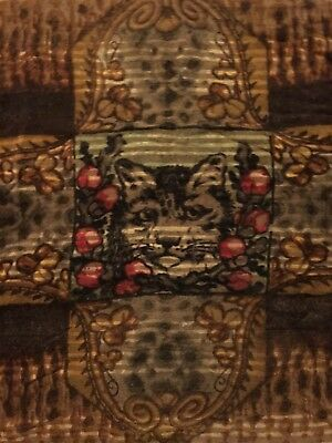 Antique Chase Cat Flower Motif Horse Hair Buggy Carriage Sleigh Blanket