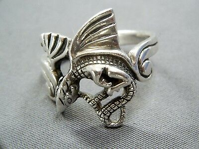 Vintage 925 Sterling Silver Large Mythical Dragon Ring / Uk T - Us 9 3/4