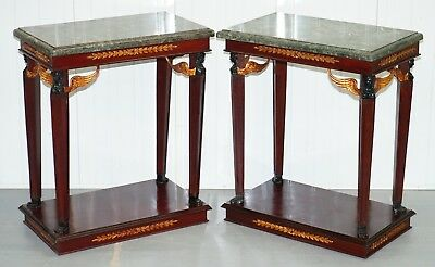 Matching Pair Of French Empire Style Console Tables Solid Green Marble Tops