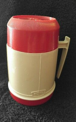 Vintage Wide Mouth King Seeley 10oz Thermos Model #6002 Tan Beige Red Soup