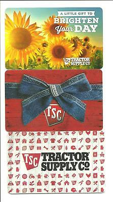 Lot (3) Tractor Supply Gift Cards No $ Value Collectible Sunflowers, Denim Bow