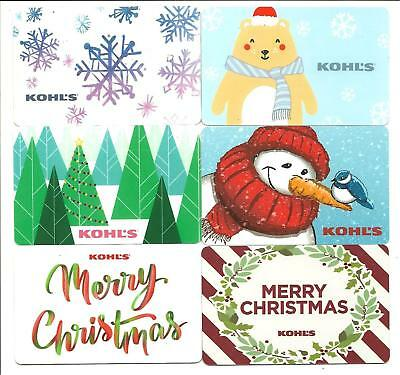 Lot of (6) Kohls Holiday Christmas Winter Bear Gift Cards No $ Value Collectible