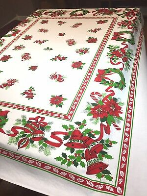 Vtg Christmas Tablecloth Wreath  Candy Canes Shiny Brites Ribbons Poinsettias