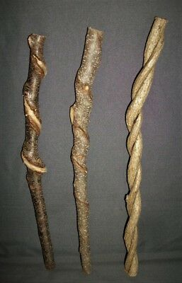 3 Raw Smaller Vine Twisted Craft Wood Carving Blank Sticks Witch Wizard Wand #79