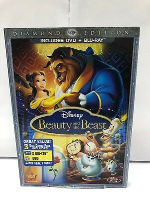 Beauty and the Beast (Blu-ray / DVD Combo 3-Disc Set, Diamond Edition)New Sealed