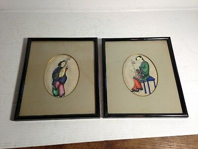 Pair of Antique Japanese/Chinese Watercolor Portraits on Rice Paper~Framed