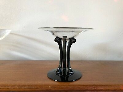 Fostoria Deco #2433 Tall Comport With Ebony Stem & Foot George Sakier Design