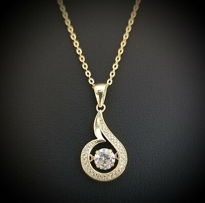 14k Yellow Gold Over Sterling Silver Round Diamond Solitaire Pendant Necklace
