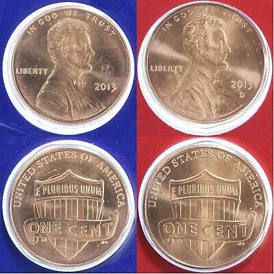 2012 P and D 2 Coin Lincoln Shield Penny Set In BU Condition