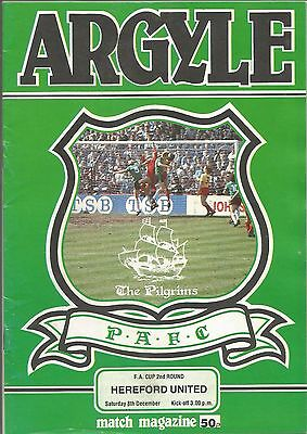 Football Programme - Plymouth Argyle v Hereford United - FA Cup - 8/12/1984