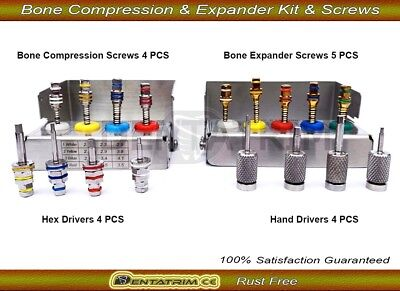 Bone Expander /Compression Hand Drivers & Abutment Hex Screws Dental Implant Set