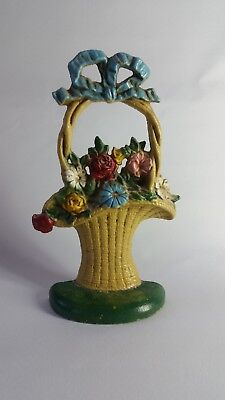 """Antique Cast Iron Hubley Door Stop Basket with Bow # 69 ~ 10.5"""" Tall"""