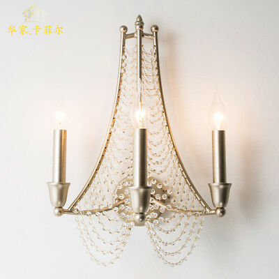 American Country Style Crystal Sconce Antique Silver Finish E14 Bulb Wall Lamp