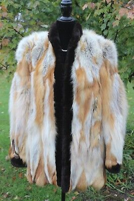 Genuine Real Medium Length Red Fox Fur with Dark Fur Trim Coat Jacket Unique